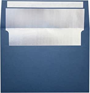 A7 Foil Lined Invitation Envelopes (5 1/4 x 7 1/4) w/Peel & Press - Navy w/Silver LUX Lining (250 Qty.) | Perfect for the HOLIDAYS, 5x7 Photos, Invitations, Greeting Cards and More! |FLNV4880-03-250