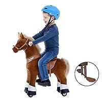 PonyCycle 官方可骑马无电池无电机械马棕色带白色小马驹小马毛绒行走动物适合 4-9 岁儿童 M 码 U 白色