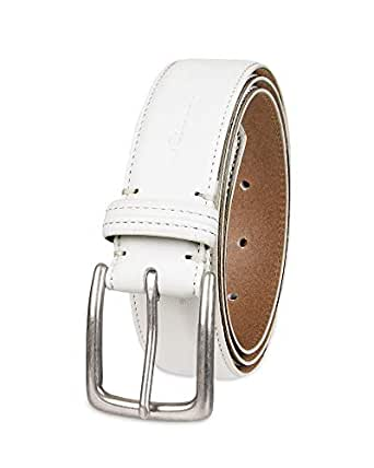 Columbia 男士休闲皮带 - 三位牛仔裤卡其色连衣裙皮革皮带银色爪扣腰带 白色 30
