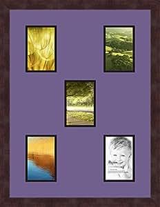 Art to Frames 双倍多衬垫-989-849/89-FRBW26061 拼贴框架照片垫双衬垫带 5 个 - 4x6 开口和Espresso 框架