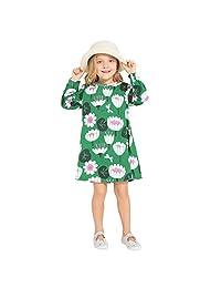 Zebra Fish 女孩可爱长袖休闲连衣裙卡通印花和 * 纯棉面料