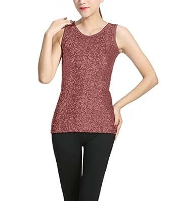 Sosite Women's Sparkly Sequin Front Tank Top Round Neck Vest Sleeveless Base Shirt  棕色 Small