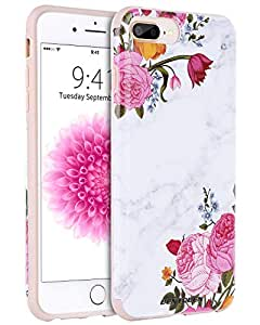 iPhone 8 Plus 手机壳,iPhone 7 Plus 手机壳,BENTOBEN 星云宇宙超薄 2 合 1 混合硬质 PC 柔性 TPU 防摔保护手机套 适用于 iPhone 8 Plus / 7 Plus - 紫色星球 K090-Marble Flower