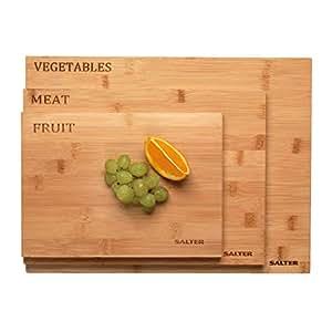 Salter 竹木双面切碎板 竹子色 1 x Large Bamboo Chopping Board, 39.5 cm x 30 cm x 1.5 cm, Cool Grey Rim 1 x Medium Bamboo Chopping Board, 33 cm x 24 cm x 1.5 cm, Grey Rim 1 x Small Bamboo Chopping Board, 27 cm x 19.5 cm x 1.5 cm, Warm Grey Rim BW07281