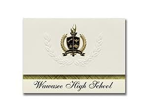 签名公告 Wawasee 高中 (Syracuse, IN) 毕业公告,总统风格,25 片精英包装带金色和黑色金属箔封条