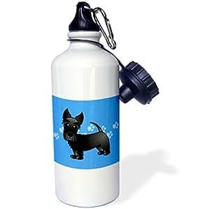 """3dRose wb_40870_1 英寸可爱黑色苏格兰卡通狗狗蓝色带爪印运动""""水瓶,21 盎司,天然"""