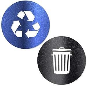 Vinyl Friend Recycle and trash 贴纸标志风格 2 个符号用于整理垃圾桶或垃圾容器和墙壁 - 5 种尺寸 12 种颜色贴纸 Ultra Metallic Blue/Black Xsmall - 2.75x2.75 2552-XSM-MTBB