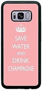 rikki KNIGHT save WATER and DRINK 香槟浅粉色设计 SAMSUNG GALAXY S8手机壳(黑色硬质橡胶 TPU 与正面防撞保护)适用于 SAMSUNG GALAXY S8 黑色