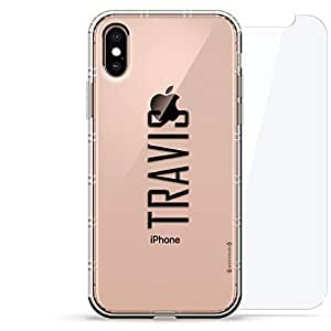 豪华设计师,3D 印花,时尚气袋垫,360 度玻璃保护套装手机壳 iPhoneLUX-IXAIR360-NMTRAVIS2 NAME: TRAVIS, MODERN FONT STYLE 透明