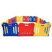 爱贝乐 Baby Care PlayPen 游戏围栏 宝宝防护栏 搭配爱贝乐儿童垫 多尺寸 (14片=13单板 + 1门板, 红黄蓝)