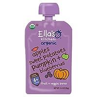 Ella's Kitchen 6個月+ 嬰兒輔食, 蘋果紅薯南瓜藍莓 混合蔬果泥 3.5盎司(99克)6袋
