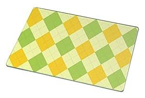 Rikki Knight RK-LGCB-283 Green and Yellow Argyle Glass Cutting Board, Large, White