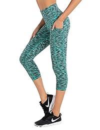 LifeSky 高腰瑜伽裤女式健身打底裤带口袋收腹柔软裤,M 码