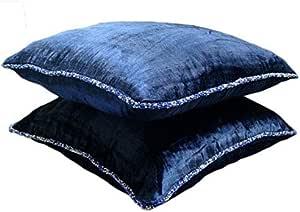 The HomeCentric 设计师浅棕色枕套,纯色串珠线抱枕套,方形天鹅绒枕套,纯现代装饰枕头套 - Choco 微光 *蓝 18 x 18 inch THC105NavyShimmer18IN