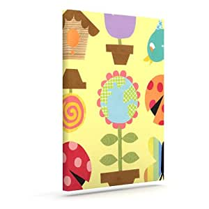 "Kess InHouse Jane Smith""Spring Repeat""黄色户外帆布墙壁艺术 24"" x 30"" 黄色 JS1015AAC05"