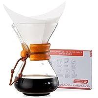 Diguo 帝国 精美手冲咖啡壶 经典原木柄 咖啡分享壶 咖啡手冲壶 玻璃茶壶 玻璃咖啡壶 1-3杯, 1-3人份 DG-2012 (单台 + 进口环保滤纸40张/盒)