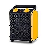 FLAMEMORE GTAM8005-YLW-FH 便携式陶瓷空间取暖器室内使用可调节恒温器*切口快速加热适用于家庭和办公室 1500 W ETL 认证黄色,5.3 英寸 X 6.6 英寸 X 10