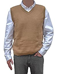 TINKUY PERU - 秘鲁羊驼毛 - 男式针织 V 领套头毛衣经典背心 - 驼色