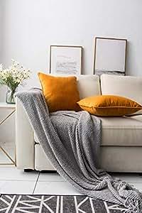 "Lamberia 抱枕枕套方形抱枕套和枕套,沙发套家居装饰,45.72 X 45.72 厘米,4 件套 橙色 18"" x 18""-2 Sets pillowcover-orange"
