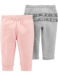 Carter's 卡特女婴2件装。 纯色荷叶边婴儿柔软套穿裤