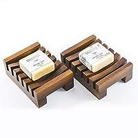 柚木肥皂盒礼品套装 - 2 个手工制作餐具和天然香皂棒 - 巴厘手工制作,时尚,*,可回收,肥皂盒非常适合淋浴、浴室、厨房、浴缸和户外