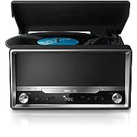 Philips 飞利浦 OTT2000/12 Retro CD 声音系统带蓝牙(4 W RMS,数字FM调谐器,LP 播放,USB Direct) 黑色