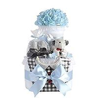 AngelCake 庆祝宝宝 淋浴 2层纸尿裤蛋糕 乔治蓝 男孩用 帮宝适胶带型尿布M号 宝宝用品3件JO-2B