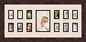 Art to Frames 双倍多衬垫-377-825/89-FRBW26061 拼贴框架照片垫双衬垫带 12-1.5x2.5 和 1-4x6 开口和Espresso 框架