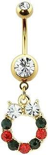 Covet Jewelry 镀金宝石镶边圣诞花环*钢脐环