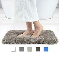 Walensee 浴室地毯,超软超细纤维卫衣浴室防滑垫,吸水,可水洗洗浴地毯和浴房垫(40.64 x 60.96 厘米) 棕色 16 x 24 inches