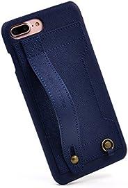 HANATORA 硬手机壳 适用于 iPhone 8 Plus/iPhone 7 Plus 便携PU皮革 藏蓝色  H6-7Plus-Navy