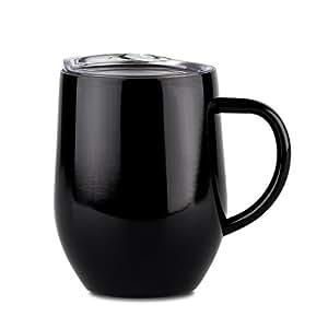 dokio 325.27毫升咖啡马克杯带手柄玻璃杯*杯杯子不锈钢双层真空保温带*透明盖子 shatterproof 非常适合 ICE and HOT DRINK 黑色