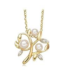 周生生 18K黃白分色黄金Akoya珍珠家庭树钻石吊坠 87321p (定价)(亚马逊自营商品, 由供应商配送)