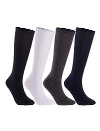 Lian LifeStyle 男女通用儿童 4 双高圆领精梳棉袜 3 种尺寸(5-15 岁)