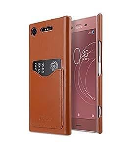 Melkco 高级皮革名片槽后盖手工制作手机壳适用于索尼 Xperia XZ1MKBSSSEXXZ1CB2BNCHLT 棕色