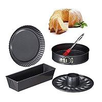 Relaxdays 10027276蛋糕4件套,26厘米弹簧形状平底锅,含楔形插入物,肉饼,烘焙刷,钢,无烟煤,石头,炭黑色
