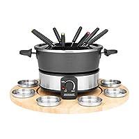 GASTROBACK 42566 火锅套装,实用的旋转盘,带8个不锈钢调味器,可无级调节 40°C至190°C,1000瓦,不粘锅,黑色,银色