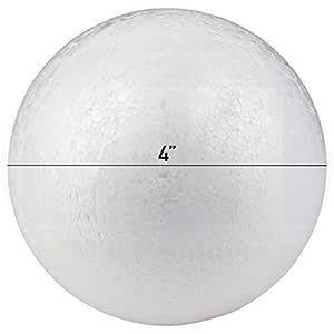 MT Products 光滑白色工艺泡沫聚苯乙烯圆球 白色 3.75 Inch FMBALL