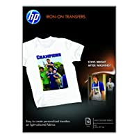HP C6050A Iron-on 转印纸用于熨烫170g/m2 A4 12 页,适用于浅色纺织品 A 1 - Pack 白色