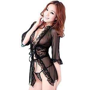 九色生活 情趣内衣 性感开襟蕾丝诱惑套装 系带睡裙 附送开档T裤 黑色