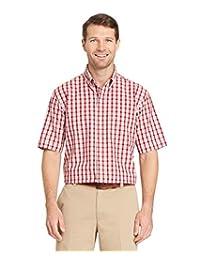 Arrow Men's Hamilton Plaid Short Sleeve Shirt Rhubarb XX-Large