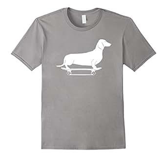 Dachshund T-Shirt - Longboard Wiener Dog Funny Skateboard T 蓝灰色 Male 2XL