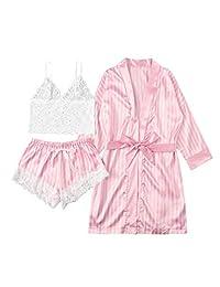Shein 女士透明蕾丝内衣和条纹短裤睡衣内衣套装带睡袍