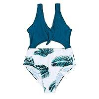 arttranson 女孩热带可爱比基尼套装一件式镂空高腰泳衣带低圆领无钢圈泳衣。