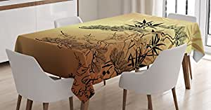Japanese Decor Tablecloth by Ambesonne, Asian Style Branches and Bamboo Motifs with Showy Fragrant Leaves Nature Illustration, Dining Room Kitchen Rectangular Table Cover, 60 X 90 Inches
