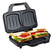 Ultratec 三明治烤面包機,電動貝殼模具,三明治機,XXL 烤面包機,不粘涂層板,帶溫度控制燈,900瓦,黑色銀色 銀白色/黑色