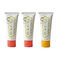 Jack N' Jill Natural Toothpaste Organic 50g, Set of 3, Strawberry/Banana