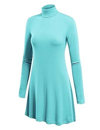 LL Womens Long Sleeve Handkerchief Hem Tunic - Made in USA  Wt992_aqua Small