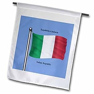 777images 旗帜和地图–THE 国旗 OF THE 意大利 waving ON 蓝色背景与意大利共和国以 English ,意大利–旗帜 12 x 18 inch Garden Flag