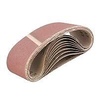ABN 皮带砂纸磨砂皮带用于皮带磨砂机,氧化铝砂皮带 3x18 英寸 10 件装 120 Grit 9928